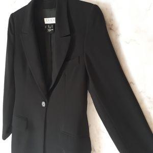 Escada Elements Black Wool One Button Blazer Sz 34